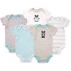 Luvable Friends Newborn Baby Neutral Bodysuit 5-Pack Panda