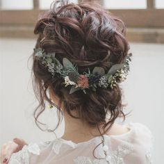 Boho Wedding Updo, a curly casual updo for the wedding. - Boho Wedding Updo, a curly casual updo for the wedding. The bridal hairstyle is adorned with delica - Bridal Hair Half Up, Wedding Hair Down, Wedding Hair Flowers, Wedding Hair And Makeup, Flowers In Hair, Whimsical Wedding Hair, Curly Bridal Hair, Fall Flowers, Wedding Dresses