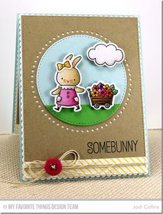 Somebunny stamp set and Die-namics, Diagonal Stripes Background, Stitchable Dot Circle STAX Die-namics, Stitched Circle STAX Die-namics - Jodi Collins #mftstamps