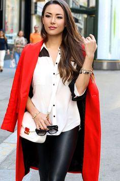 Zara coat, Ro and De shirt, Similar fake leather leggings, Zara bag, Ivanka Trump suede heels, Prada sunglasses.