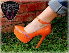 Shoe Name: UPGRADE U!  #Tangerine Pump with Stripe Option 1;  Order now at www.rockandmerlot.com