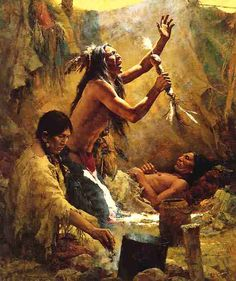"""Medicine Man of the Cheyenne"" by Howard Terpning, 1982. I love this because it could be Nóváhe and his wife Oóna. Cheyenne medicine men always had a female helper."