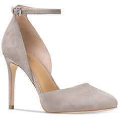 Michael Michael Kors Georgia Ankle-Strap Two-Piece Pumps ($135) ❤ liked on Polyvore featuring shoes, pumps, pearl grey, d'orsay pumps, pearl shoes, ankle strap d orsay pump, gray pumps and ankle tie pumps