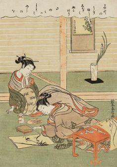 Woman Painting Bamboo. Ukiyo-e woodblock print. 1769, Japan, by artist Suzuki Harunobu