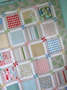 Aunt Isabelle's Pinwheel Squares, made in Millie's Closet.  Pattern design, fabric design and sewn by Lori from Bee in my Bonnet - love the cornerstone pinwheels!