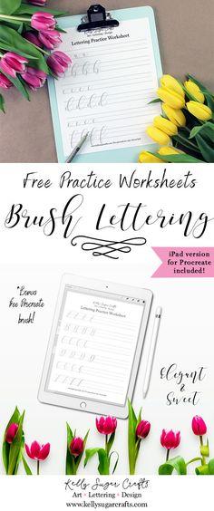 Lettering Practice Worksheets Printable | Brush lettering, iPad lettering, Procreate | Kelly Sugar Crafts #letteringworksheets #handlettering #ipadlettering #lettering #printable #worksheet #handlettered #brushlettering