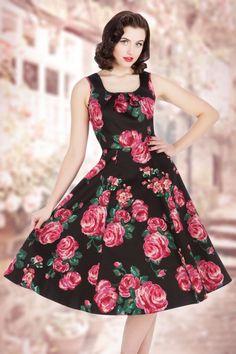 Lady Vintage Black Pink Rose Floral Swing Dress