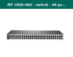HP 1820-48G - switch - 48 ports - managed. HP 1820 Switch Series devices are basic smart-managed, fixed-configuration Gigabit Ethernet Layer 2 switches designed for small businesses looking for key features in an easy-to-administer solution. The series consists of 6 switches including 8-, 24-and 48 port Gigabit Ethernet switches and 8-, 24-, and 48 port Gigabit PoE+ models each providing non-blocking Gigabit per port performance. Some models include SFP ports for fiber connectivity and…