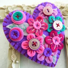 This is for a lovely & pretty Japanese art inspired heart shape design felt brooch that I have used different colour beads to light up the brooch that I individually designed and handcrafted. The brooch measures approx - height by cm across. Felt Brooch, Doll Eyes, Handmade Felt, Felt Hearts, Shape Design, Whimsical Art, Japanese Art, Fabric Patterns, Textile Art