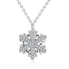 Crystal Zircon Snowflakes Pendant Necklace