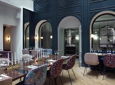 Take a cue from the newly renovated dining room in Paris's Hotel Bachaumont and play with pattern.