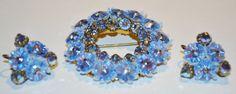 Beautiful Blue Rhinestone Brooch & Earrings by OurTreasuresForever