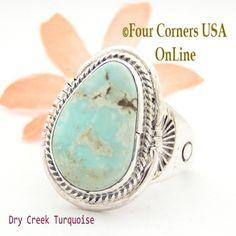 Four Corners USA Online - Size 12 3/4 Dry Creek Turquoise Ring Navajo Artisan John Nelson NAR-1633, $255.00 (http://stores.fourcornersusaonline.com/size-12-3-4-dry-creek-turquoise-ring-navajo-artisan-john-nelson-nar-1633/)