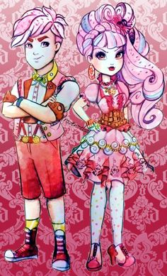 Gus and Helga Crumb of Ever After High - Gus is the son of Gretel and Helga is the daughter of Hansel from Hansel and Gretel. Thus, they are first cousins. In the spirit of his destiny, Gus has an eye for opportunities to obtain candy and packs a bag of bread crumbs for his lunch. Helga is relentless in her pursuit of candy. Between herself and Gus, she seems to be the instigator and leader. Their characters do not yet have dolls.