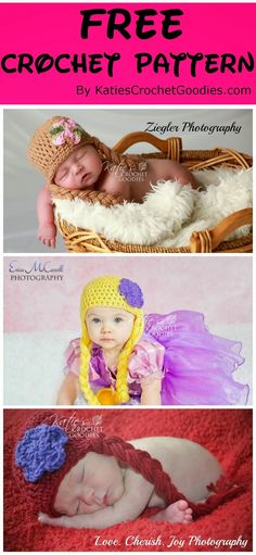 Free Frozen, Rapunzel, Disney Princess Crochet Hat Pattern (NB-3 months)
