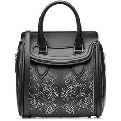 Alexander McQueen Heroine Embellished Mini Leather Tote ($2,855) ❤ liked on Polyvore featuring bags, handbags and tote bags