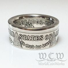 These coin rings are hand made from genuine 90% silver US Morgan Silver Dollar Coins. ------------------------Why purchase this ring from me?--------------------------- *The inner details of each ring will be preserved. *Each ring will have a nice straight-band look (see pictures)