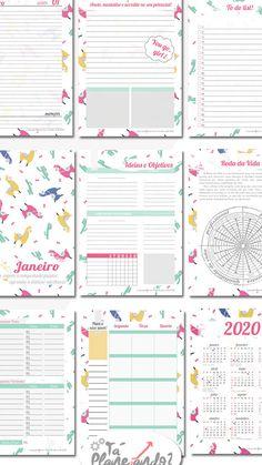 Planners 2020 para organizar sua vida pessoal e financeira - Eine Plattform mit allen Designs Kids Planner, Study Planner, School Planner, Planner Layout, Journal Layout, Planners, Journal Stickers, Binder Covers, Planner Organization