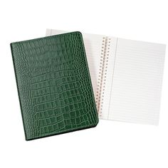 "9"" Wire-O-Notebook, Crocodile Embossed Leather"