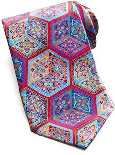 Ermenegildo Zegna Quindici Cube Print Silk Tie, Red - 40% off, now $159.0 @ #NeimanMarcus  #ErmenegildoZegna