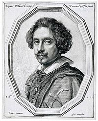 Ottavio Leoni (Il Padovano) (Rome, 1578-1630) was an Italian painter and printmaker of the early-Baroque, active mainly in Rome. Ottavio Leoni, self-portrayed in this 1625 engraving, was also the engraver of a set of portraits of painters. His portrait of Michelangelo Merisi Caravaggio is the only documented portrait of the painter by another artist. Leoni wears the cross of a Knight (Cavaliere) of the Cross of Christ.