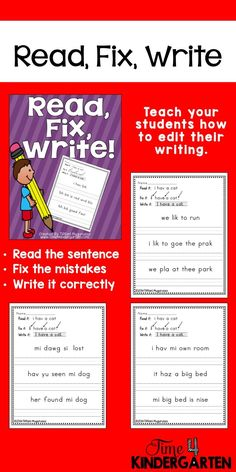 Teach your beginning writers to be editors with this simple and fun Read, Write and Fix pack.  Use whole class, small groups or for centers.