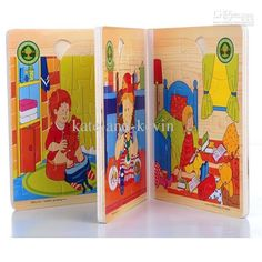 Wooden puzzle Book Puzzle Toys Colorful 3D Story Books baby Learning Educational Toys
