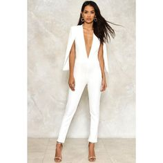 Nasty Gal Cape it Together Tailored Jumpsuit (120 AUD) ❤ liked on Polyvore featuring jumpsuits, white, white plunge neck jumpsuit, zipper jumpsuit, white tailored jumpsuit, plunge-neck jumpsuits and white jump suit