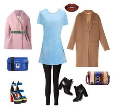 Blue Seude Dress by annabaranovskaya on Polyvore featuring мода, Cynthia Rowley, Delpozo, Givenchy, Miss Selfridge, Tory Burch, Karl Lagerfeld, Dsquared2, Versace and Pierre Hardy