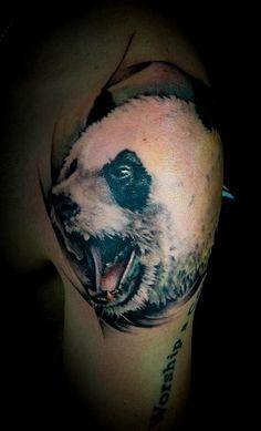 Realistic panda head tattoo