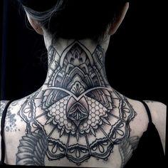 black and grey mandala neck tattoos - Google Search