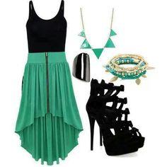 Green high low skirt
