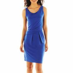 Worthington, Side Drape Drop Waist Dress in Santorinin Blue, $50 on sale for $25 via JCPenney