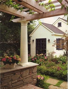 pergola, column, stone wall, french doors