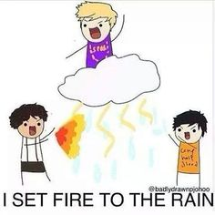 "because Leo Valdez ""fires"" the rain and automatically the rain transforms into ""fire rain"""
