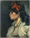Portrait of a Woman with Red Ribbon-Van Gogh