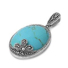 925 Sterling Silver Genuine Turquoise witn Marcasite Pendant (Jewelry) http://www.amazon.com/dp/B005XQW586/?tag=pindemons-20 B005XQW586