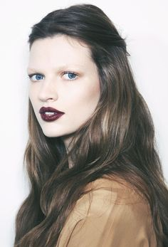 By Robin B. Fall beauty. #nudeshadow and imperfectly stained with lipstick burgundy lips. #falltrends #makeup #oxblood @Bloom.com
