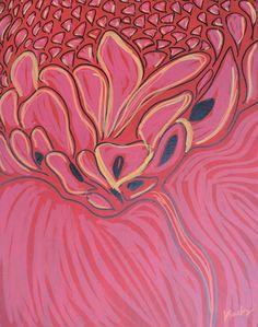 #Red #Hawaiian #TorchGinger #Ginger #Flower #MixedMedia on stretched #canvas. #Painting #Drawing #Art #Artwork #ModernArt #Macro #ContemporaryArt #Nature