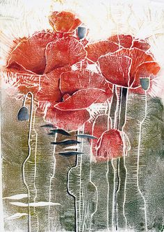 Red Poppies  original linocut watercolor painting / by FluidColors, $30.00