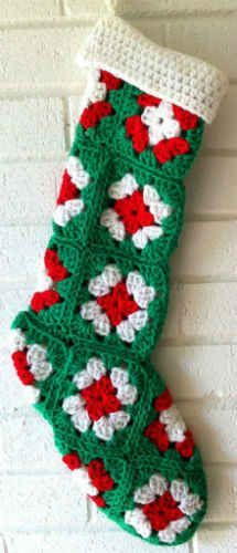 Granny Square Green Christmas Stocking - pattern very similar to what my mom made.