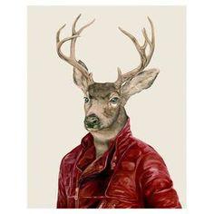 Deer in Jacket Wall Art