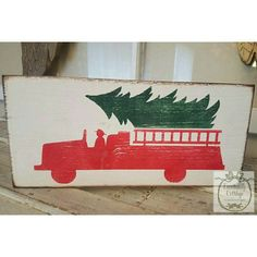 Our firefighters have chosen the perfect tree for the children to decorate this Christmas! Handcrafted of pine, handpainted white with red, and green. Sign is distressed and antiqued for added character. Comes ready to hang. Christmas Pallet Signs, Diy Christmas Gifts, Christmas Projects, All Things Christmas, Christmas Holidays, Christmas Decorations, Christmas Ornaments, Firefighter Crafts, Firefighter Family