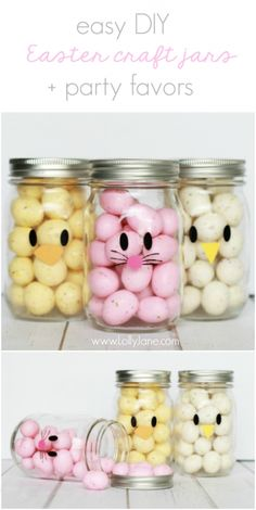 Adorable and EASY mason jar idea! Apply little faces to clear mason jars and fill with colorful candies to make quick Easter mason jar craft favors! Sooo cute!