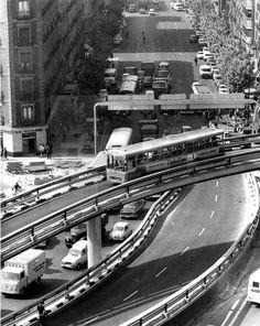 Madrid, años 70.- Vista del paso elevado de la Glorieta de Atocha. EFE
