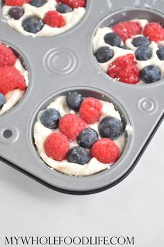 Splurges: 4-ingredient, no-cook Coconut Berry Fudge Cups - great little Phase 3 healthy-fat splurge for Memorial Day or 4th of July! Ready in just a few minutes. Sweeten with stevia instead of maple syrup.