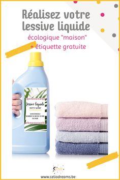 Teste ma recette de lessive liquide écologique maison facile (DIY) à base de savon de Marseille. Pour nettoyer le linge sale. Peut s'utiliser dans la machine à laver ou pour une #lessive à la main. Tuto pas à pas et étiquette gratuite pour le flacon à télécharger. Avec la recette de l'adoucissant en bonus. Facile, rapide et économique. #lessive #liquide #savon #diy Coin, Personal Care, Permaculture, Bottle, Blog, Laundry Detergent Recipe, Soap Recipes, Home Made Soap, Self Care