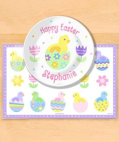 Look at this #zulilyfind! Easter Chick Personalized Plate & Place Mat #zulilyfinds