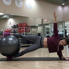 """4,936 Likes, 142 Comments - Hannah Bower (@hannahbower2) on Instagram: """"Stability ball core work 😍 Also kills your innner thighs! 😈  Shoot for 10-15 reps each!"""""""