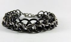 Stainless Steel Chainmail Bracelet - Two Toned Bracelet - Mens Steel Bracelet - 11th anniversary - Chainmaille Bracelet - Biker Bracelet by…